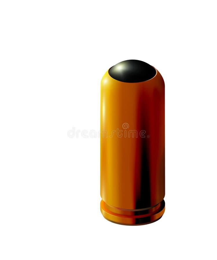 cartouche d'or du pistolet 3d avec la balle en caoutchouc d'isolement pour les armes traumatiques Or ou laiton réaliste sur le fo illustration libre de droits
