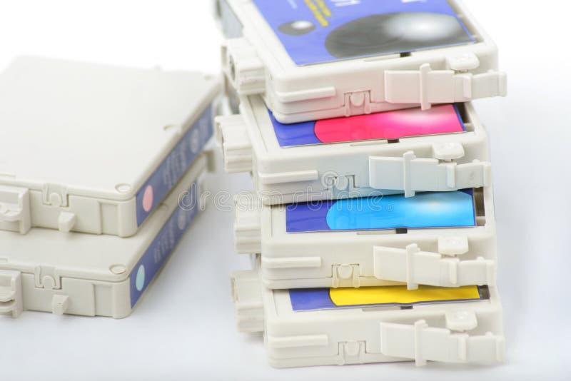 Cartouche d'imprimante à jet d'encre de six couleurs image libre de droits