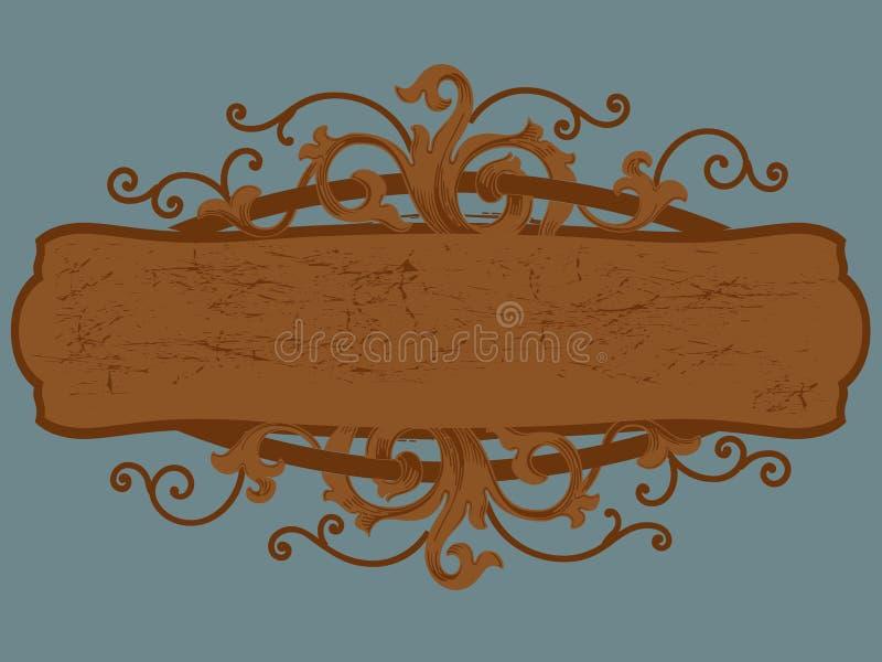 Cartouche di legno del segno illustrazione di stock