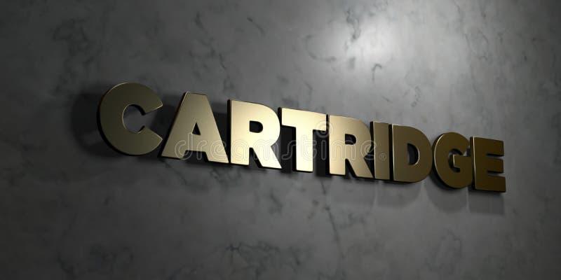 Cartouche - signe d'or monté sur le mur de marbre brillant - illustration courante gratuite de redevance rendue par 3D illustration stock