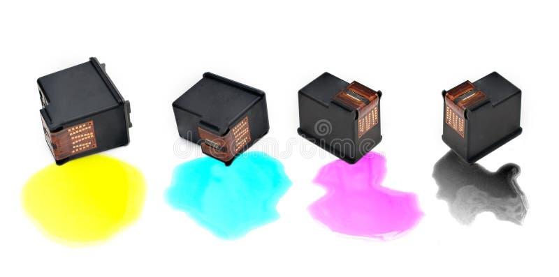 Cartouches d'encre de couleur image libre de droits
