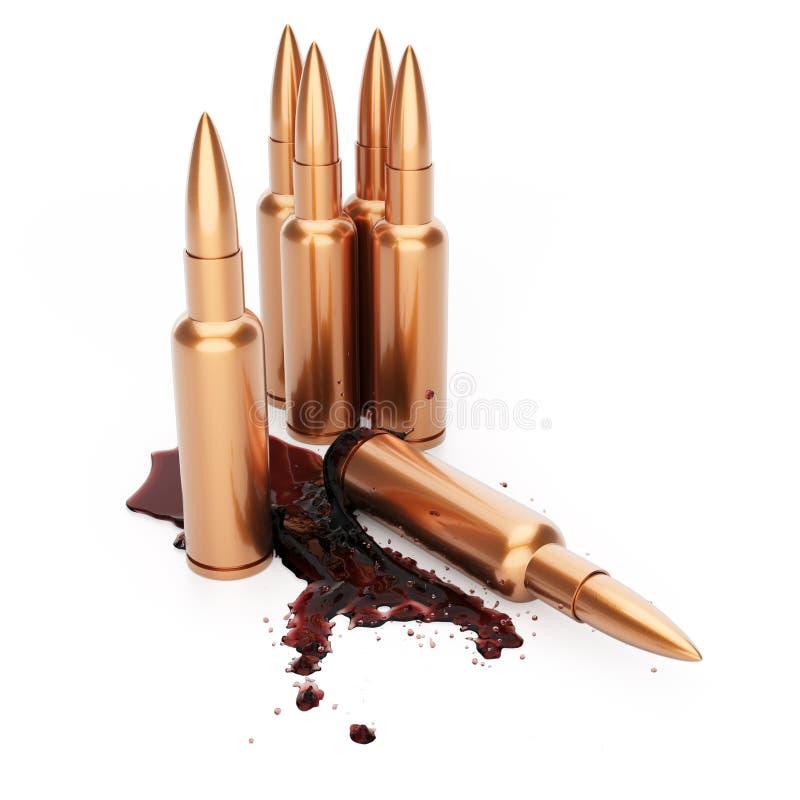 Cartouches de fusil avec le sang illustration stock