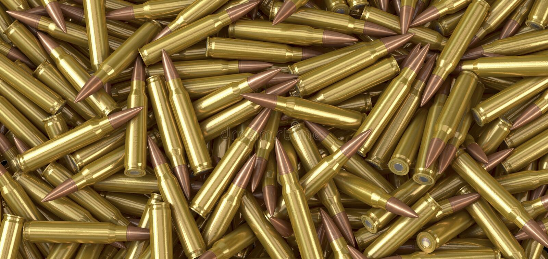 Cartouches de munitions de mitrailleuse de l'OTAN se trouvant sur une pile illustration de vecteur