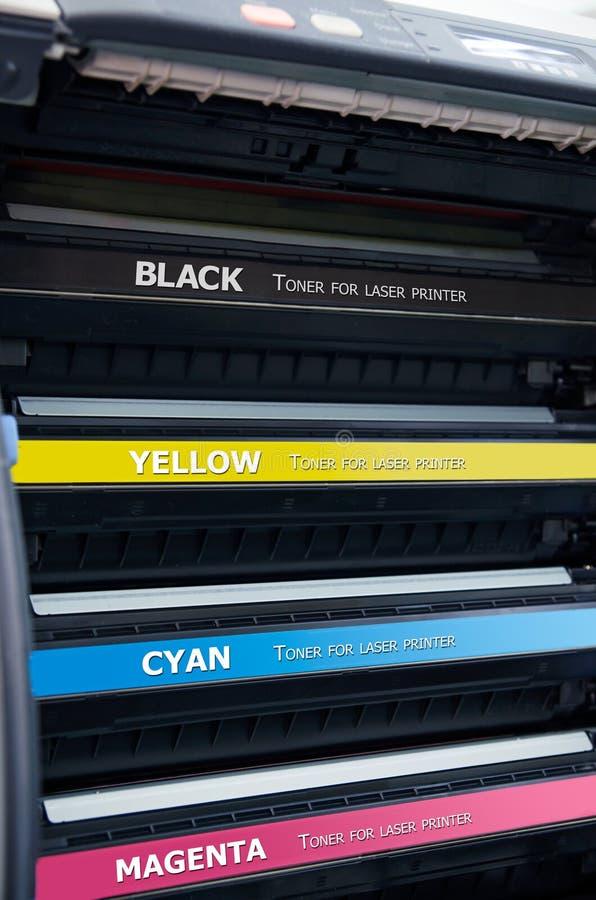 Cartouches de toners d'imprimante à laser de couleur images stock