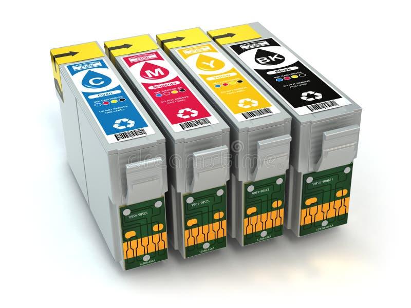 Cartouches pour l'imprimante à jet d'encre de couleur CMYK illustration stock