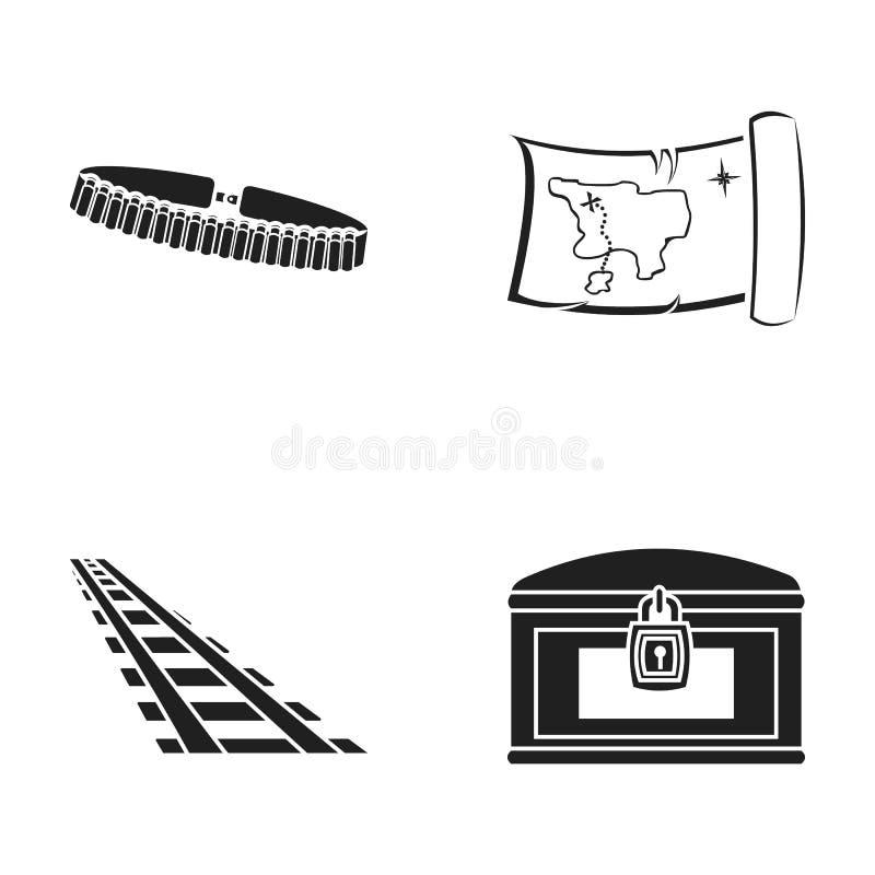 Cartouchière, carte de trésor, coffre, rails Les icônes réglées de collection d'ouest sauvage dans le style noir dirigent le Web  illustration libre de droits