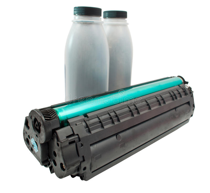 Cartridge and toner. On a white background stock photos