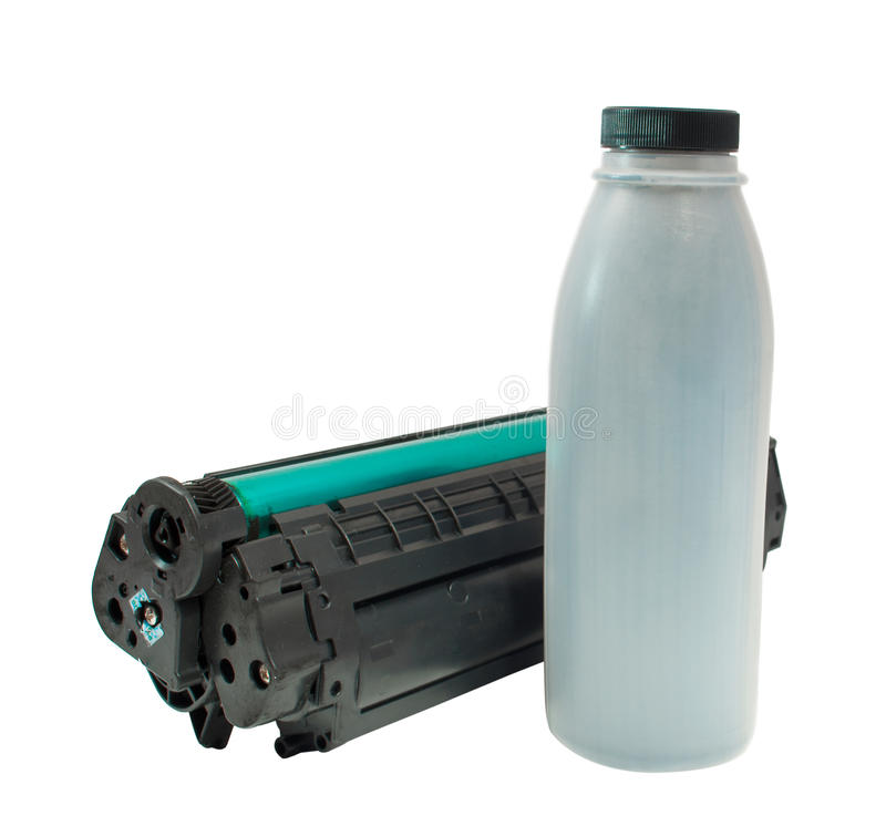 Cartridge and toner. On a white background stock photography