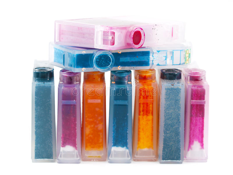 Cartridges. Close-up of a CMYK ink cartridges for a color printer royalty free stock image