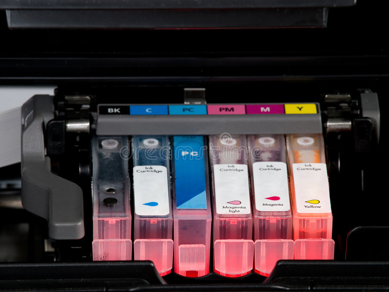 Cartridges. With ink and black inside of printer stock photography