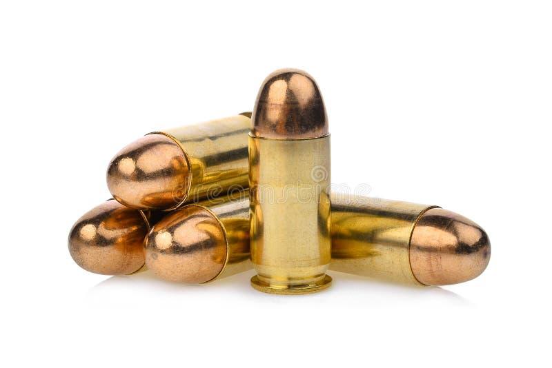 Cartridges of .45 ACP pistols ammo, full metal jacket. 45 bullet royalty free stock photography
