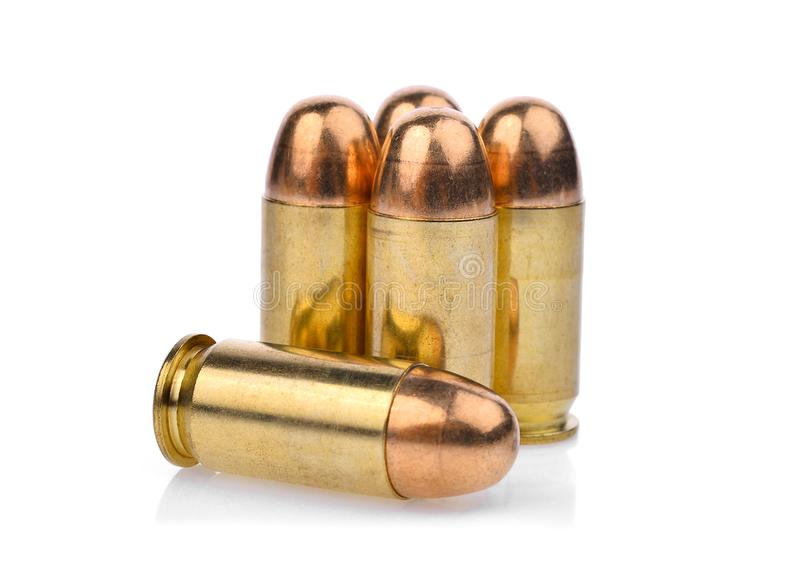 Cartridges of .45 ACP pistols ammo, full metal jacket .45 royalty free stock photo