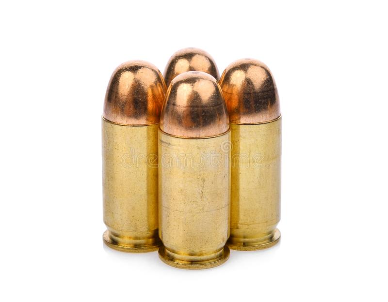 Cartridges of .45 ACP pistols ammo, full metal jacket royalty free stock image