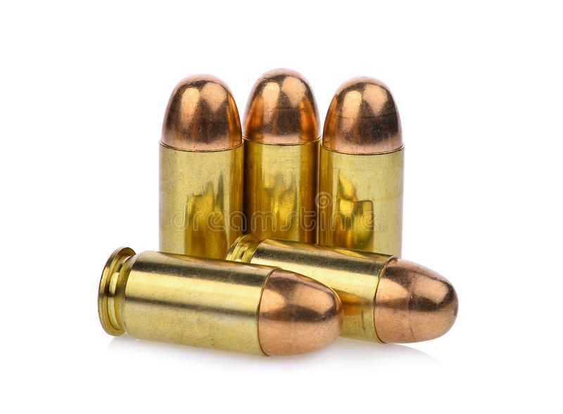 Cartridges of .45 ACP pistols ammo, full metal jacket .45 royalty free stock image