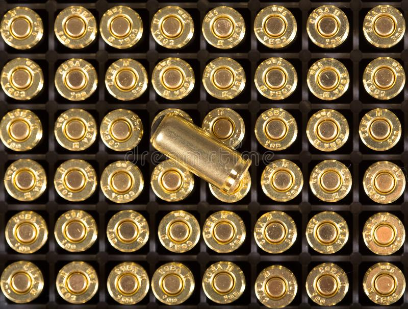 Cartridges of 9mm pistols ammo. stock image