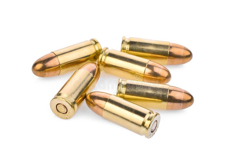 Cartridges of 9 mm pistols ammo, full metal jacket stock photography