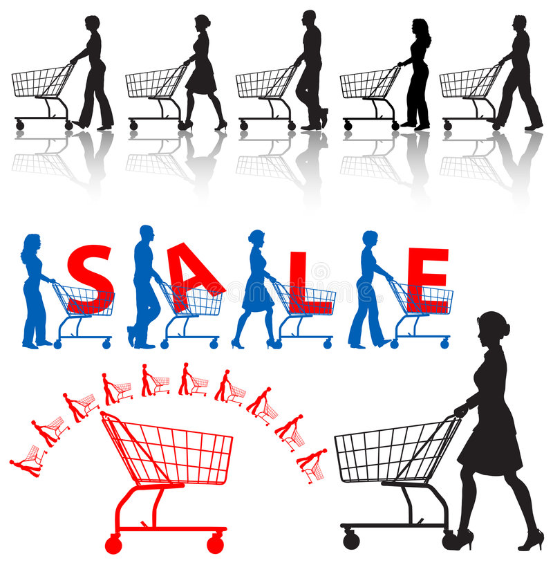 carts ходить по магазинам покупателей людей иллюстрация вектора