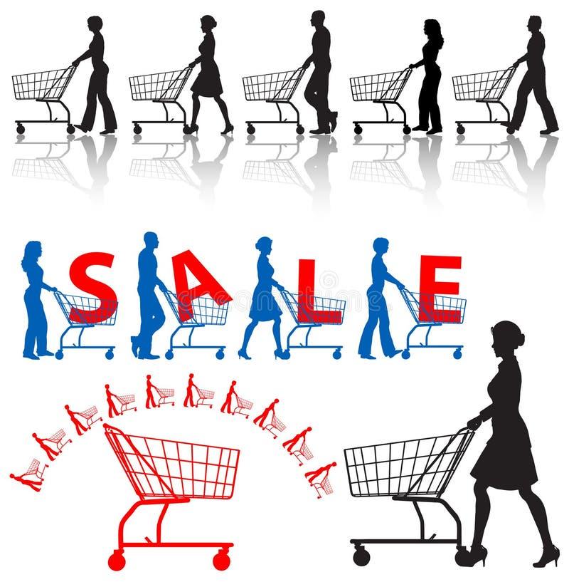 carts att shoppa för folkshoppare vektor illustrationer
