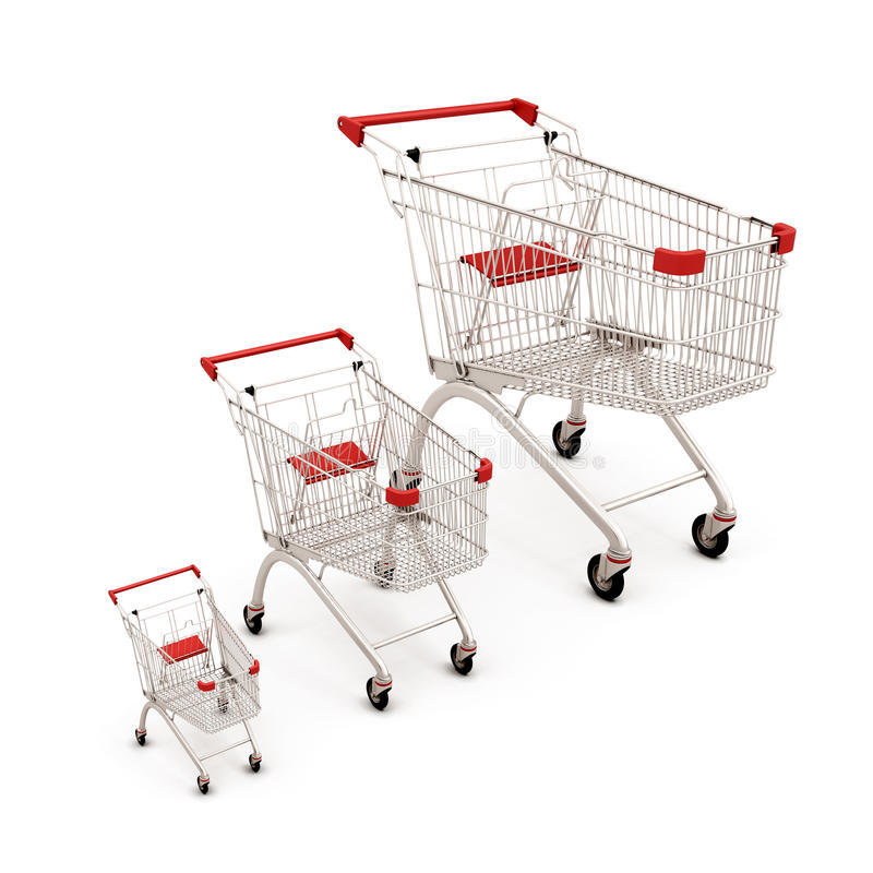 Carts for supermarkets of the different sizes. On white background. Concept of the amount of purchases for different consumers. 3d illustration vector illustration
