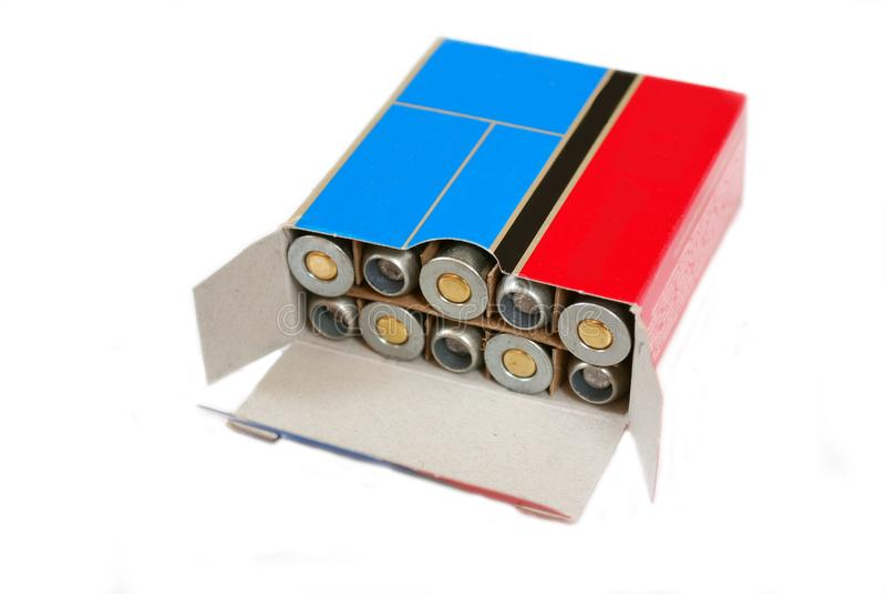 Cartucce della pallottola per un pezzo a canna liscia di uccellagione di calibro 410 in una manica d'acciaio immagine stock libera da diritti