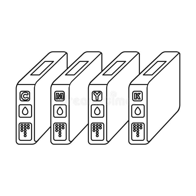 Cartucce di inchiostro nello stile del profilo isolate su fondo bianco Illustrazione di vettore delle azione di simbolo di tipogr illustrazione vettoriale