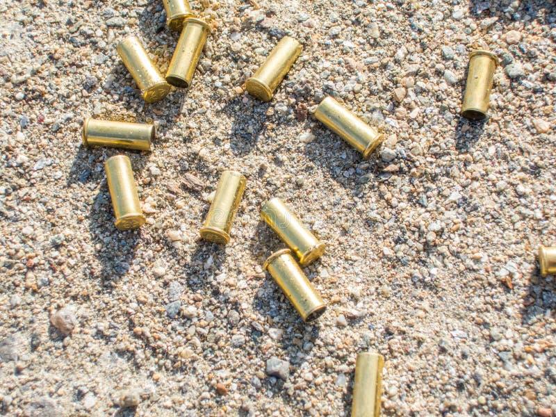 Cartucce infornate sparse fucile di biathlon che splendono al sole immagine stock libera da diritti