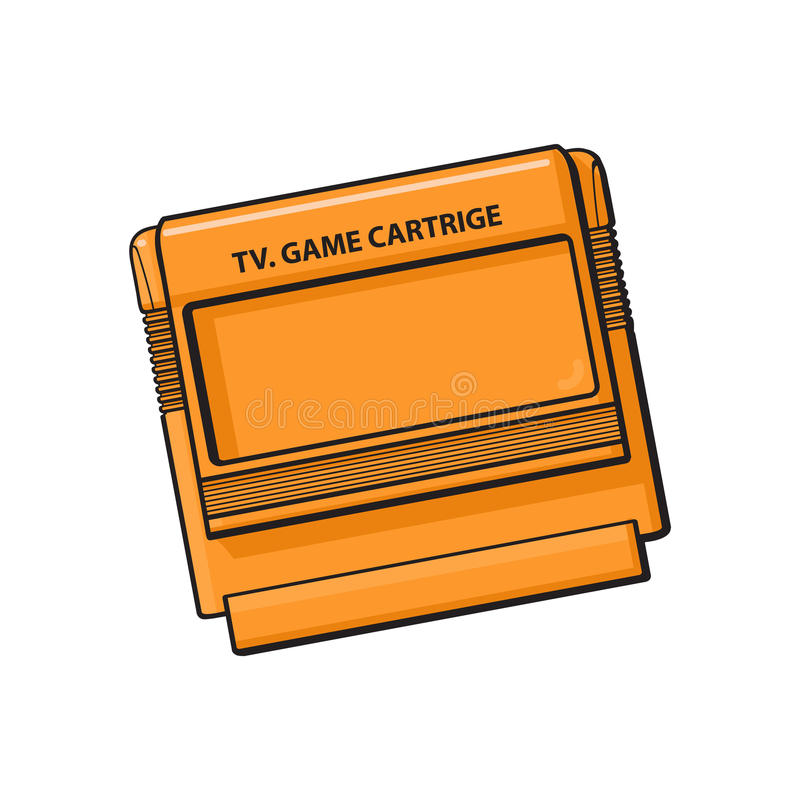 Cartucho de juego de la TV en caja anaranjada plástica de 90s stock de ilustración
