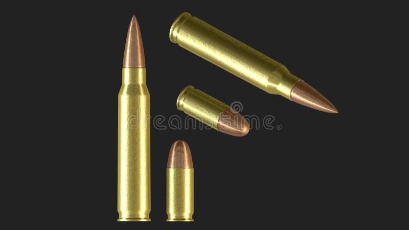 Cartucho de la munici?n de la ametralladora de la OTAN y cartucho de la pistola imágenes de archivo libres de regalías