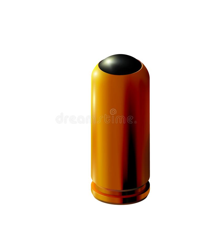 cartucho de oro de la pistola 3d con la pelota de goma aislada para las armas traumáticas Oro o latón realista en fondo ligero, p libre illustration