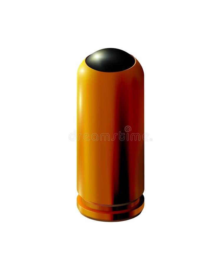 Cartucho de pistola dorada 3d con balas de goma aisladas para armas traumáticas Oro realista o latón en el fondo de la luz, para libre illustration