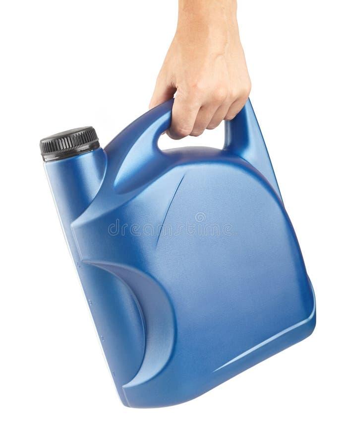 Cartucho plástico azul para lubrificantes à disposição, recipiente para a química isolado fotografia de stock