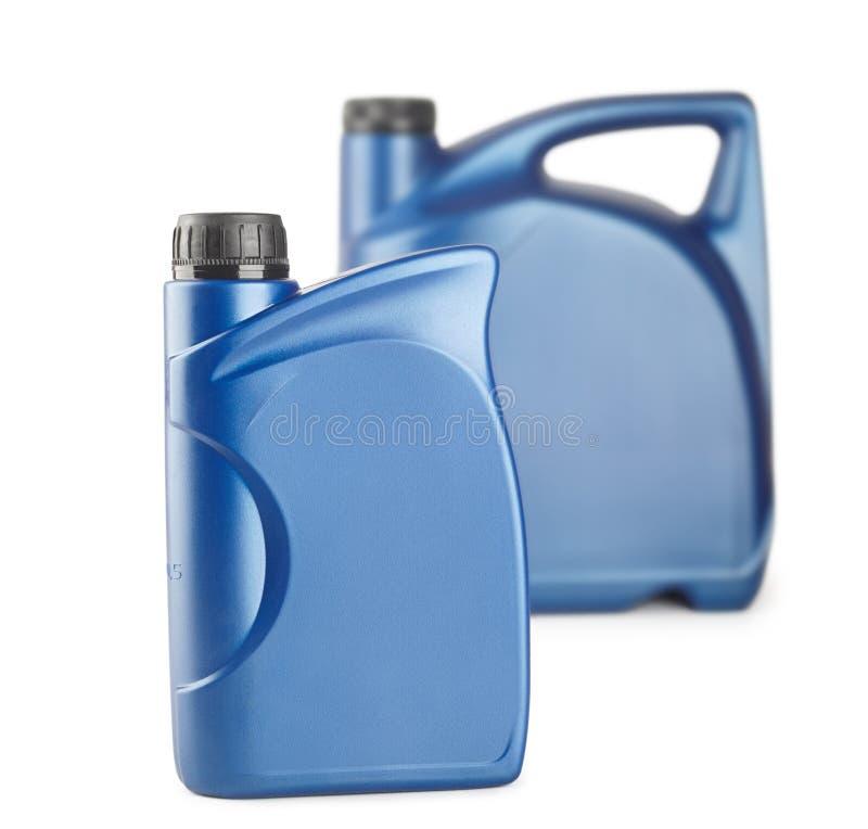 cartucho plástico azul para lubrificantes sem etiqueta, recipiente para os produtos químicos isolados imagem de stock royalty free