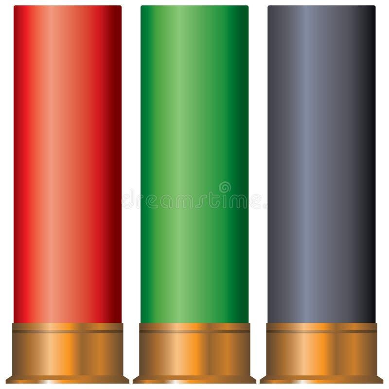 Cartuchos de la cartulina para la escopeta stock de ilustración