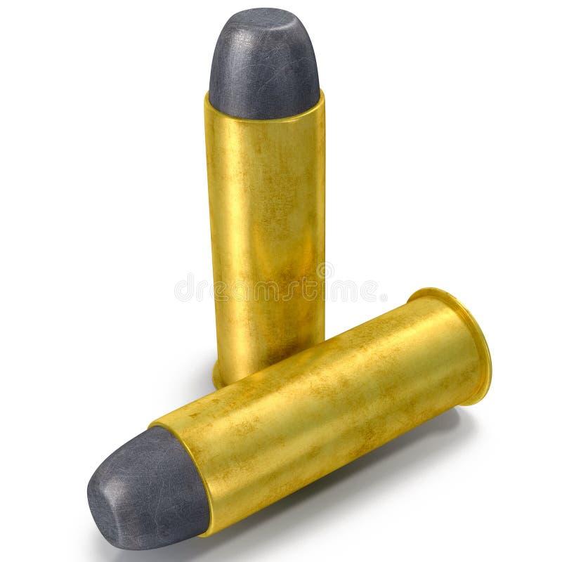 Cartuchos de Munição de 45 pistolas do ACP isolada na ilustração 3D branca ilustração royalty free