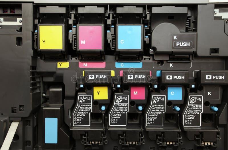 Cartuchos de tinta de CMYK para a máquina da copiadora do laser fotografia de stock