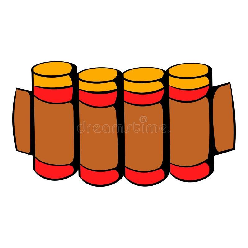 Cartuchos que caçam o ícone da munição, desenhos animados do ícone ilustração do vetor