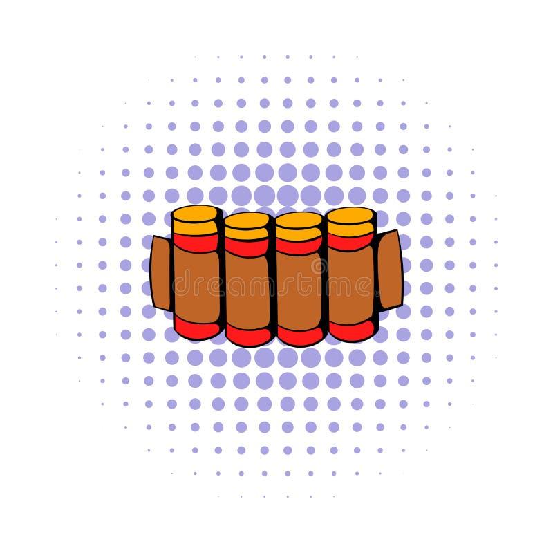 Cartuchos que caçam o ícone da munição, estilo da banda desenhada ilustração do vetor