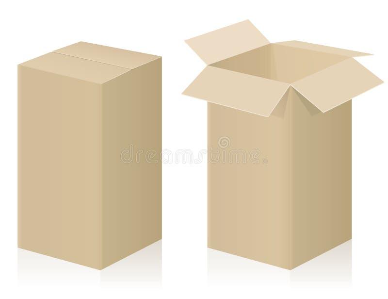 Cartulina fuerte abierta cerrada paquete grande stock de ilustración