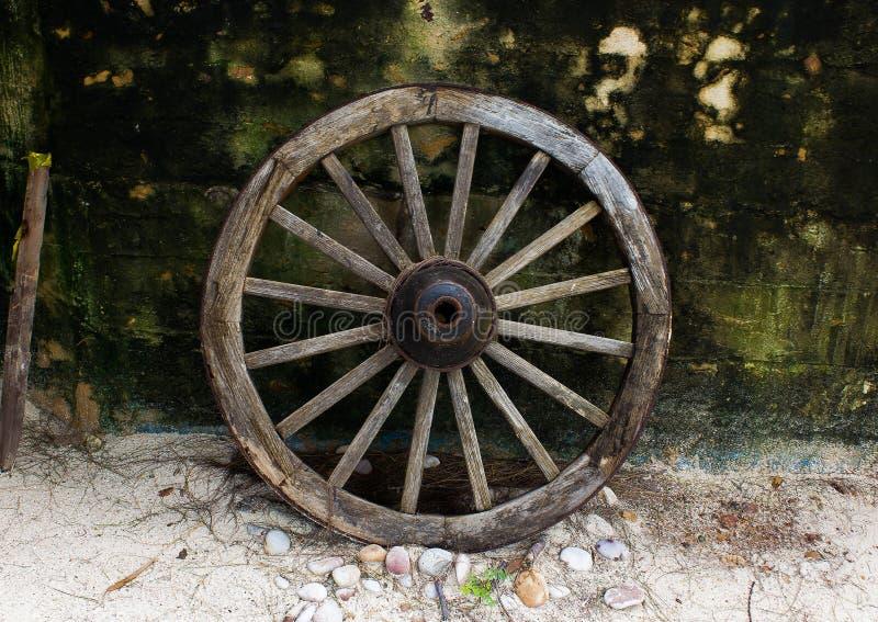 Cartwheel. A decorative wagon wheel to the beautiful beach royalty free stock photography