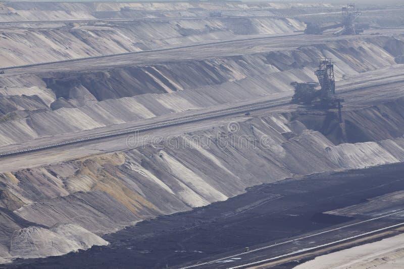 Carvão de Brown - camadas de terra na mineração opencast Garzweiler Alemanha imagens de stock