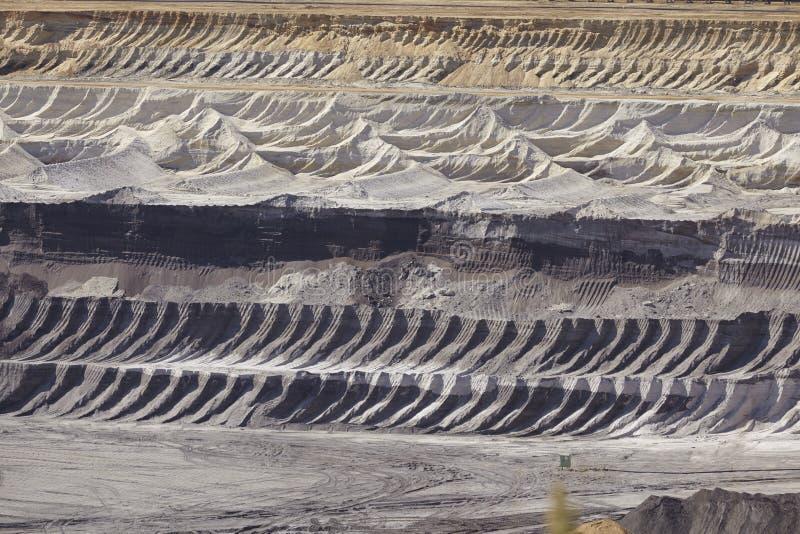 Carvão de Brown - camadas de terra na mineração opencast Garzweiler Alemanha imagem de stock