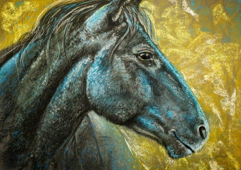 Carvão vegetal e cores pastel do retrato do cavalo ilustração stock