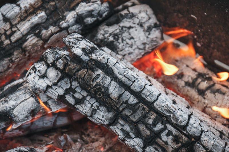 Carvões quentes da madeira em um fundo da fogueira fotografia de stock royalty free