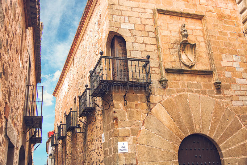 Carvajal-Palast in Caceres, Spanien lizenzfreie stockbilder