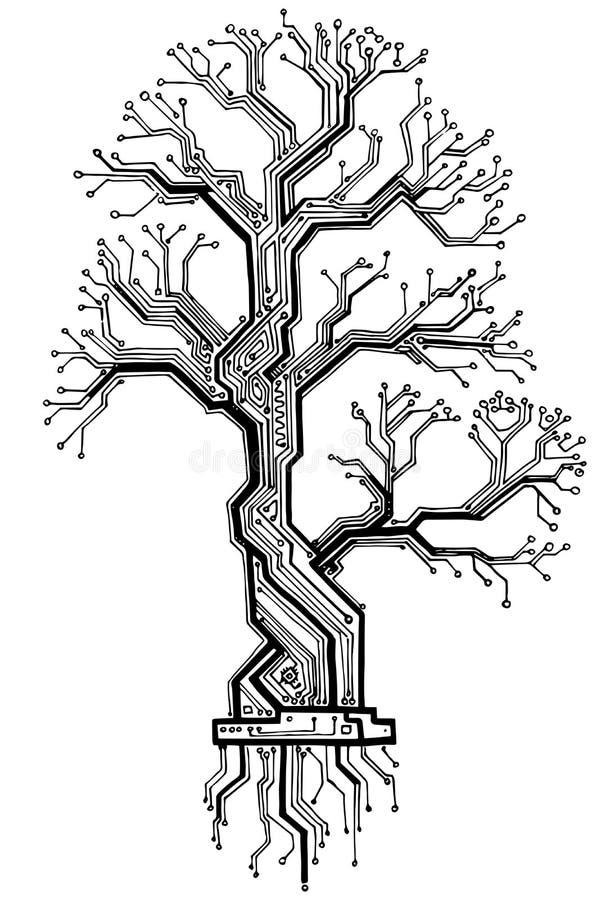 Carvalho da placa - a estrutura eletrônica preto e branco do esquema ilustração royalty free