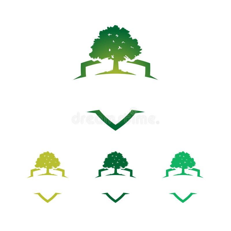 Carvalho forte verde Logo Template do protetor do crachá ilustração stock