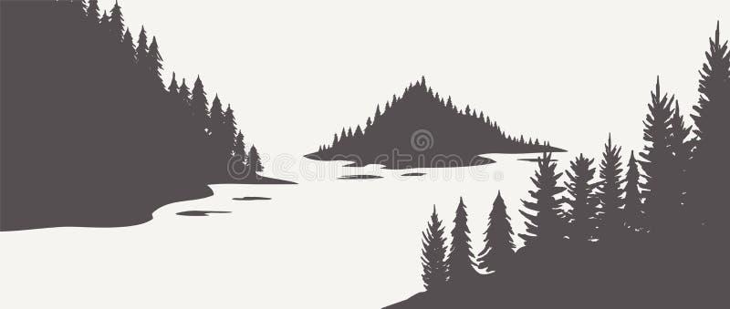 Carvalhos da silhueta do carvalho, silhuetas preto e branco no fundo branco Vetor ilustração do vetor