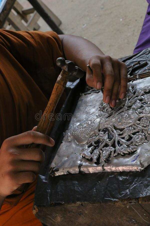 Carve silverware, Chiang Mai, Thailand stock images