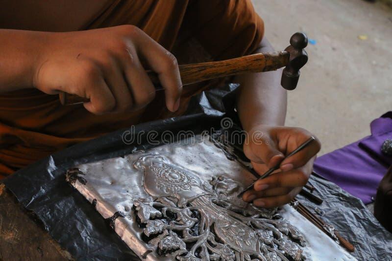 Carve silverware, Chiang Mai, Thailand stock photos
