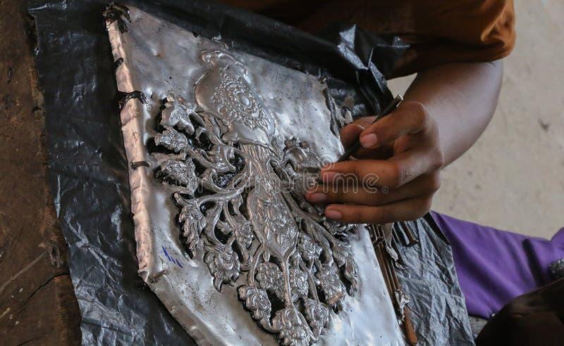Carve silverware, Chiang Mai, Thailand royalty free stock photos